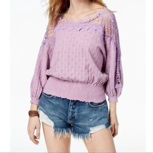 Free People Love Lace Knit Sweater lavender